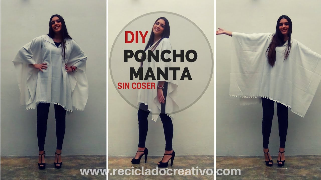 diy c mo hacer un poncho manta muy f cil y sin coser how to make a blanket coat poncho youtube. Black Bedroom Furniture Sets. Home Design Ideas