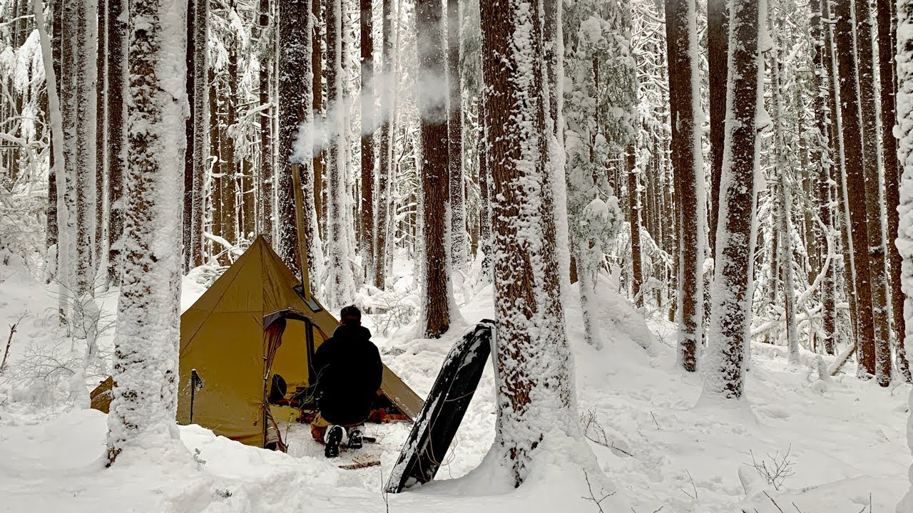 Winter Camping | Ghost Forest Wood Stove Tent Cold Snow ...