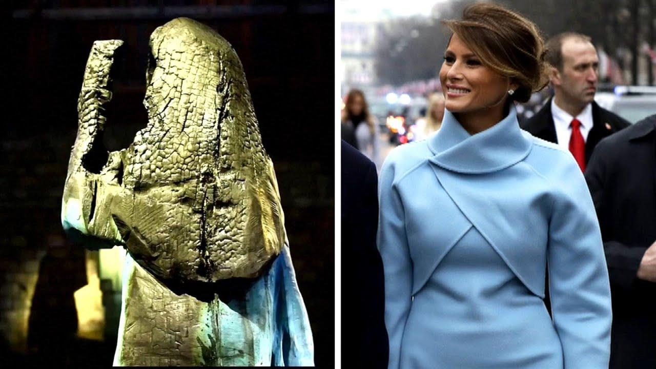 Burnt Melania Trump Statue Displayed At Slovenia Art Gallery Youtube