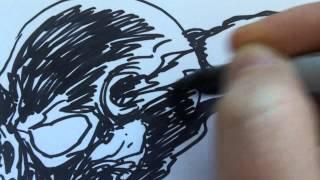 How to draw dark Sharpie Skull