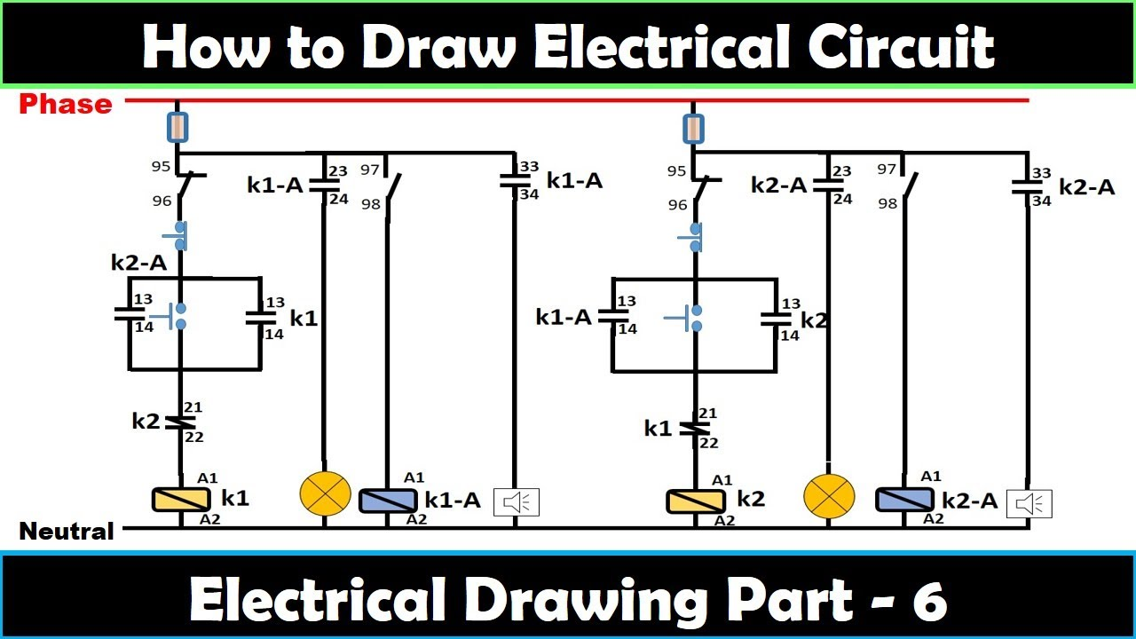 How to Draw schematics Circuit and diagrams / electrical Drawing part - 6 /  Electrical Technician - YouTube [ 720 x 1280 Pixel ]