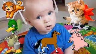 УЧИМ ЖИВОТНЫХ С МАЛЫШОМ Эльвира и братик Развивающее видео для малышей.