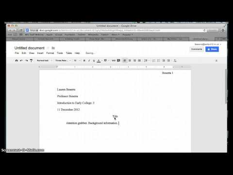 How to set up a document in MLA format in Google Docs