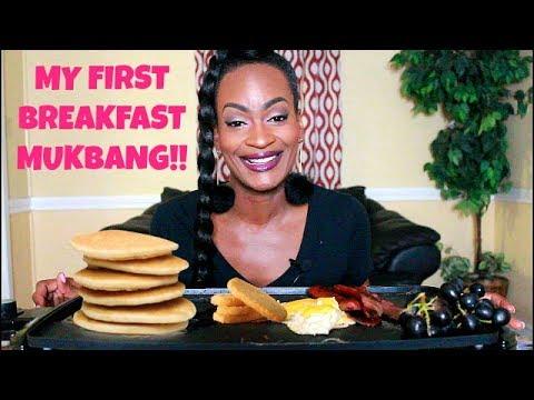 MUKBANG: COOKING BREAKFAST!! BANANA PANCAKES, BACON, SAUSAGE, HASH BROWNS & EGGS!