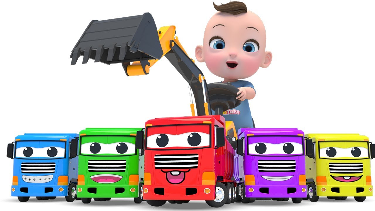 Learn Color with Color Song Construction Vehicles 포크레인 자동차 컬러송 영어동요 라임이와 함께 재미있는 영어 공부 해봐요!