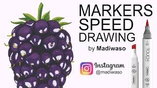 Как нарисовать ежевику маркерами Copic и Touch / How to draw blackberry with markers Copic, Touch