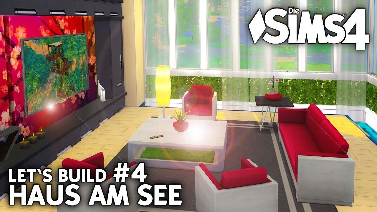Modernes wohnzimmer die sims 4 haus am see bauen let 39 s for Modernes haus sims 4