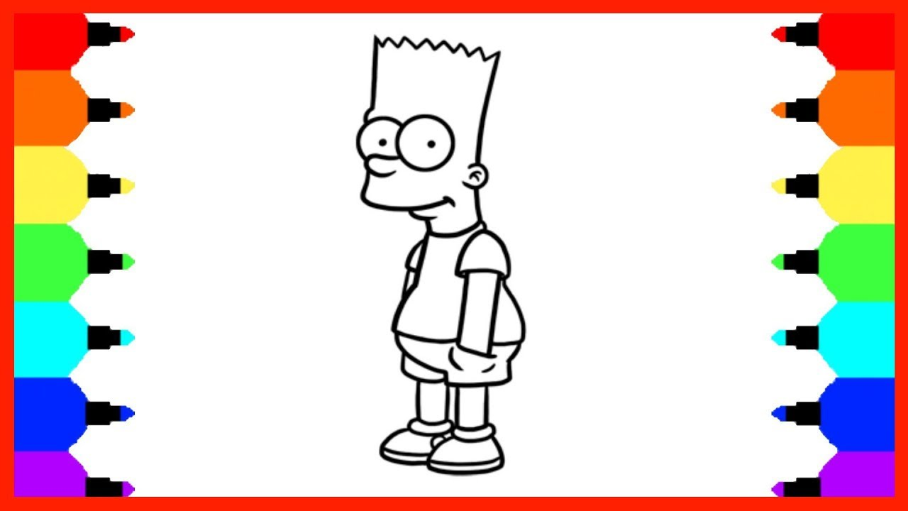 How To Draw Bart Simpson Coloring Pages How to Color and Learn Draw ...