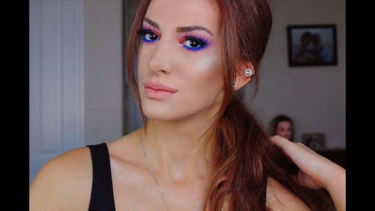 თვალის მაკიაჟი / ლურჯი, სტაფილოსფერი და ვარდისფერი თვალის ჩრდილებით / Nanka Rusalka