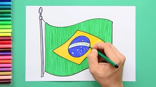 How to draw and color the National Flag of Brazil