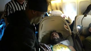 R-Truth pins a sleeping Jinder Mahal on an airplane to win the 24/7 Title