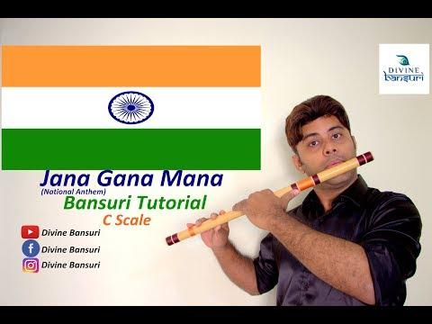 Jana Gana Mana (National Anthem) - Tutorial - Flute Lesson - C Scale - Divine Bansuri
