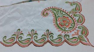 Dupatta design by machine embroidery