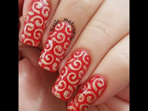 red and golden swirl nail art // easy nail art tutorial
