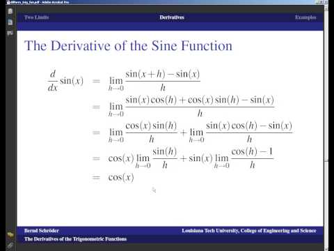 Concise Modular Calculus [18/97]: Derivatives of Trig Functions (6/8 on Differentiation Formulas)