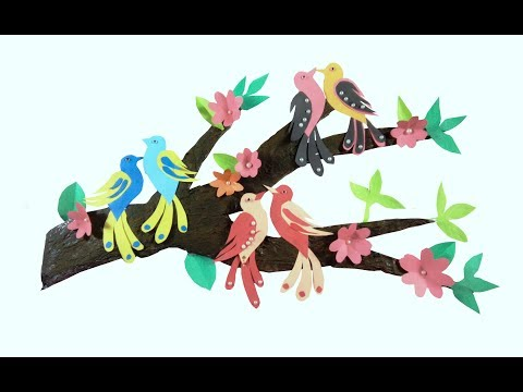 Wall Decor with Tree Branches / Wall Decoration with Birds / diy tree branch decor