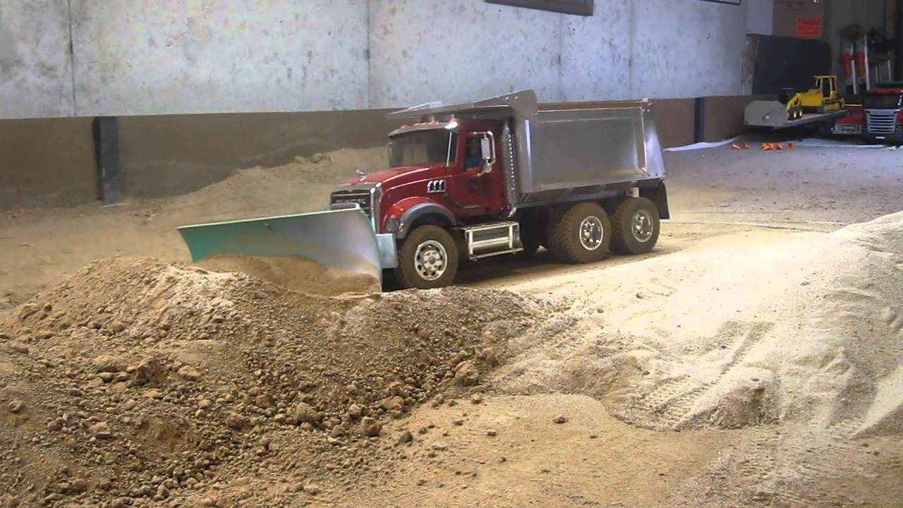 My Mack Dump Truck Pushing Dirt With A Snow Plow Blade