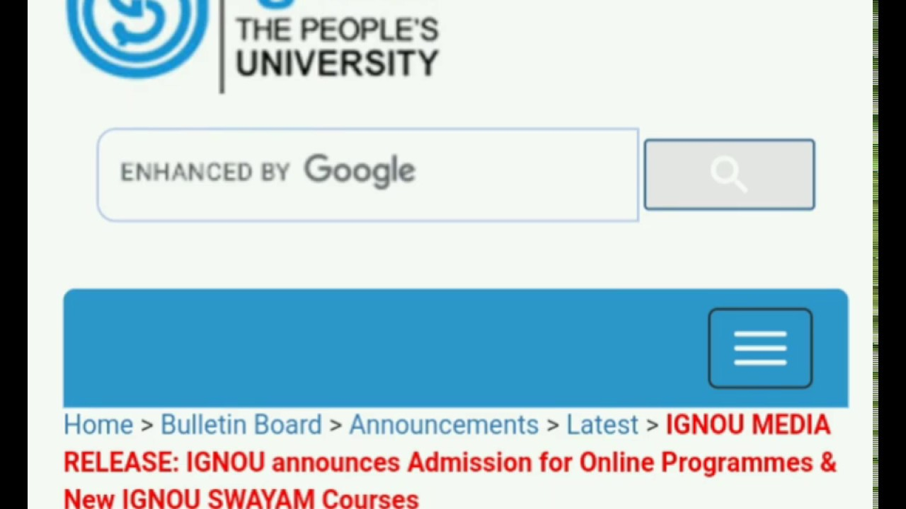 ignou online admission form 2017-18