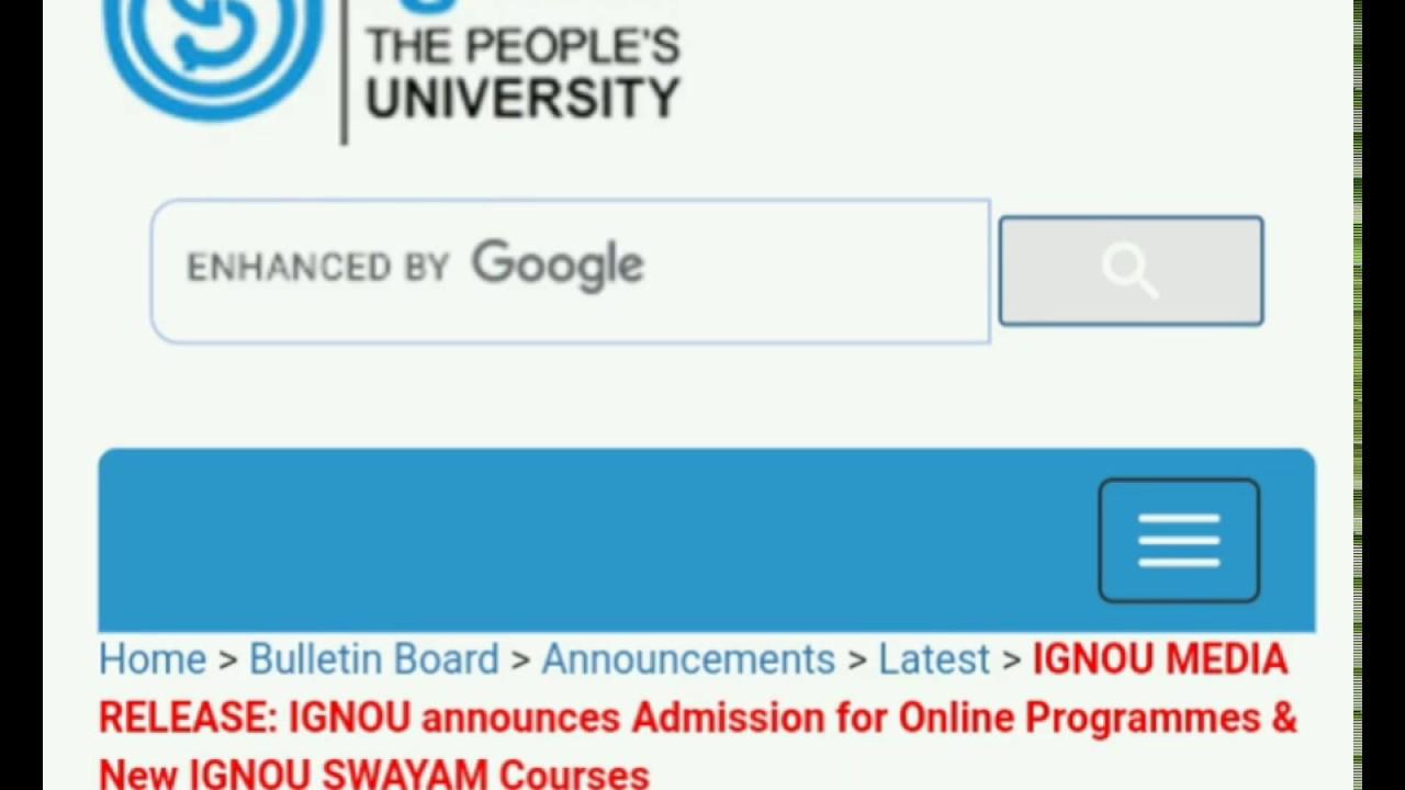 ignou online admission form 2017-18