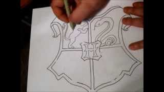 Hogwarts Crest Zentangle Part 1