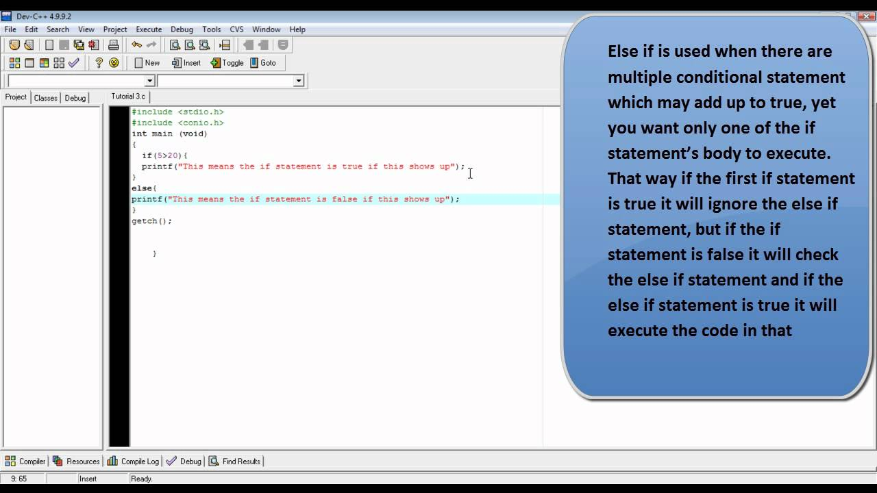 C programming tutorial 4 how to make if else and else if c programming tutorial 4 how to make if else and else if statements youtube baditri Gallery