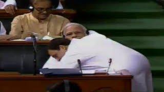 Watch: Moment Rahul Gandhi hugs PM Modi in Parliament
