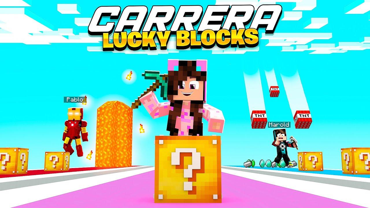 QUIEN TIENE MÁS SUERTE?! 💥 CARRERA de LUCKY BLOCKS 💥 Sandra Cires Play VS HaroldArtistPlay VS Pablo