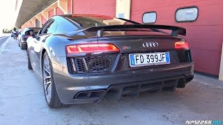 The sound of audi's 5.2 liter v10 engine will never get old! in this video you see a brand new audi r8 plus action on track, including start up, r...