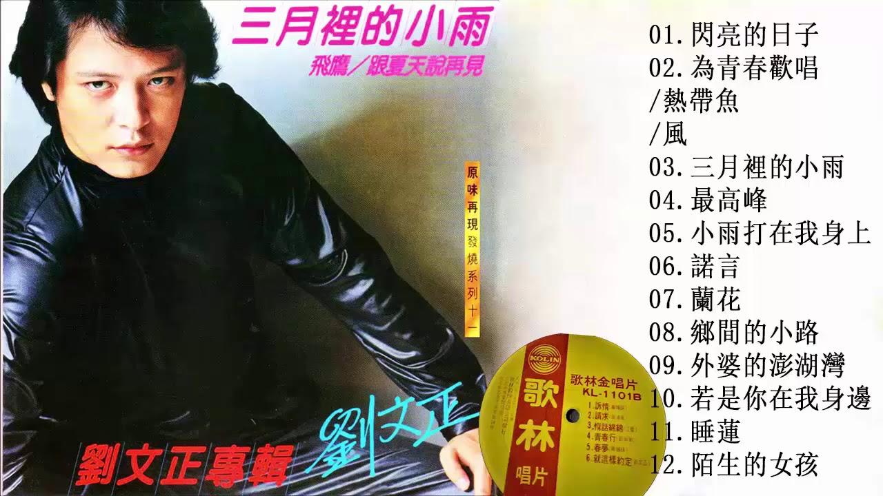 劉文正 Liu Wenzheng - 成名曲專輯 12首 1982年【閃亮的日子+為青春歡唱+熱帶魚+風+三月裡的小雨+最高峰+小雨打在 ...