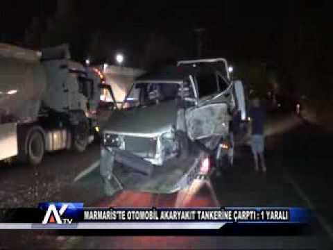 AYTV AYDIN-Marmaris'te otomobil akaryakıt tankerine çarptı