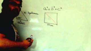 Calcular diagonal cuadrado usando Teorema Pitagoras Academia Usero Estepona