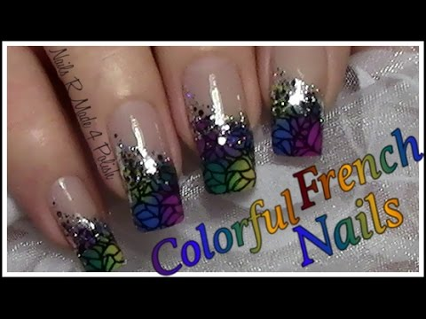 Easy Colorful Stamping French Nails Simple Chic Nail Art Design