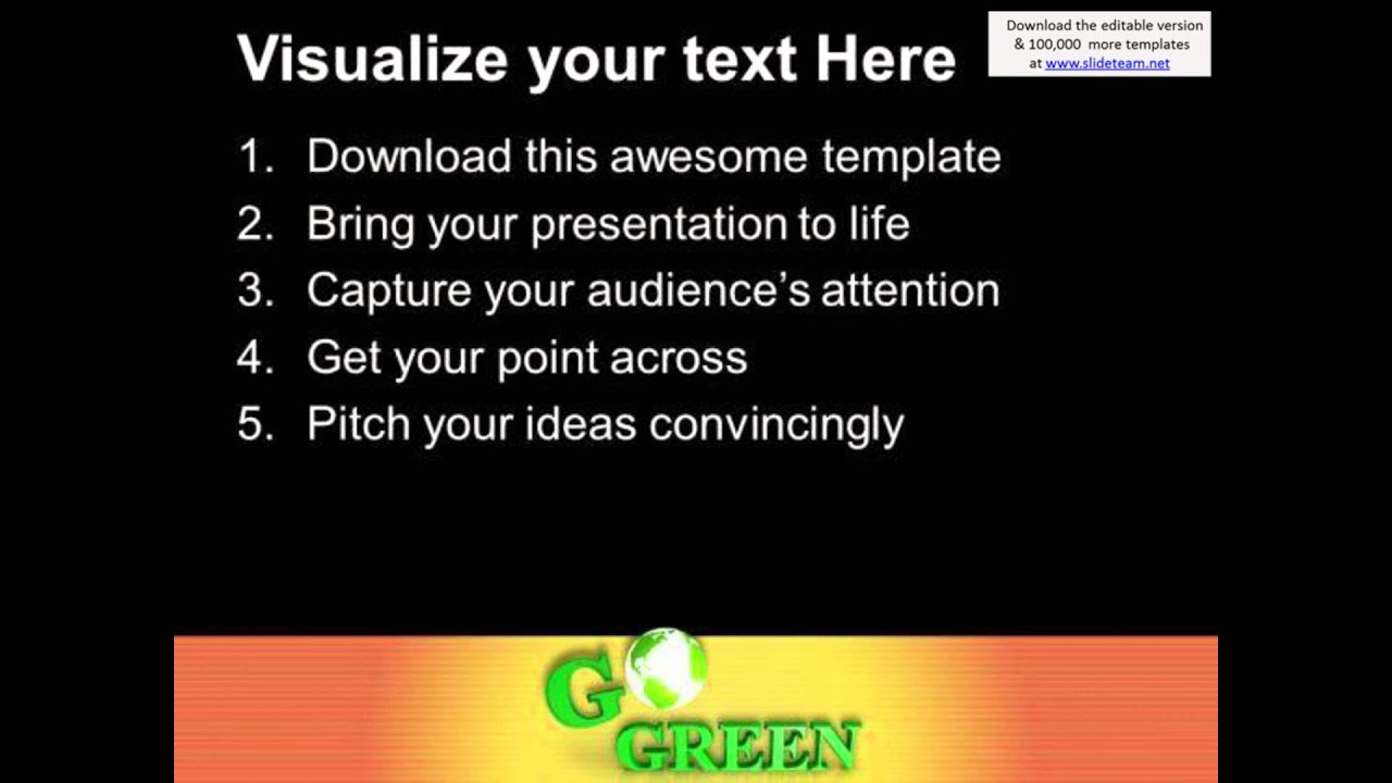 save the earth with go green slogan powerpoint templates