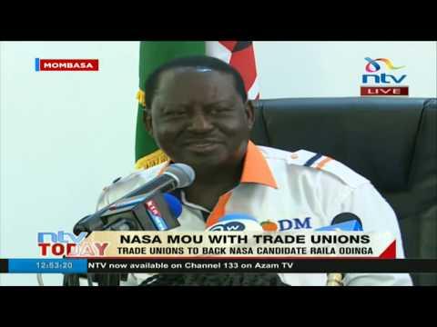 Trade Unions to back Nasa Presidential candidate Raila Odinga