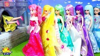 カラフルリカちゃんが鍵探しでドレスを見つけるよ❤︎ あみだくじではると王子と結婚するのは誰!?お城にすぽすぽ入って舞踏会に行こう❤︎ たまごMammy
