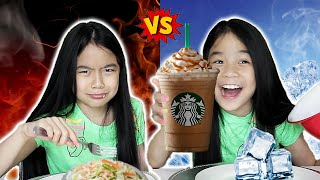 HOT VS COLD FOOD CHALLENGE (Part 1 and 2) | Tran Twins
