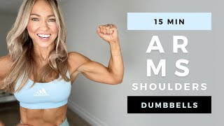 15 Min DUMBBELL ARMS & SHOULDER WORKOUT at Home | No Repeat