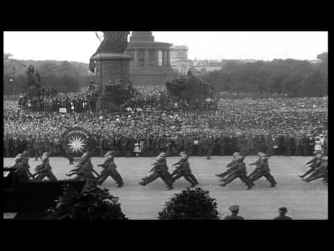 President Friedrich Ebert delivers a speech at a military pageant in Berlin, Germ...HD Stock Footage