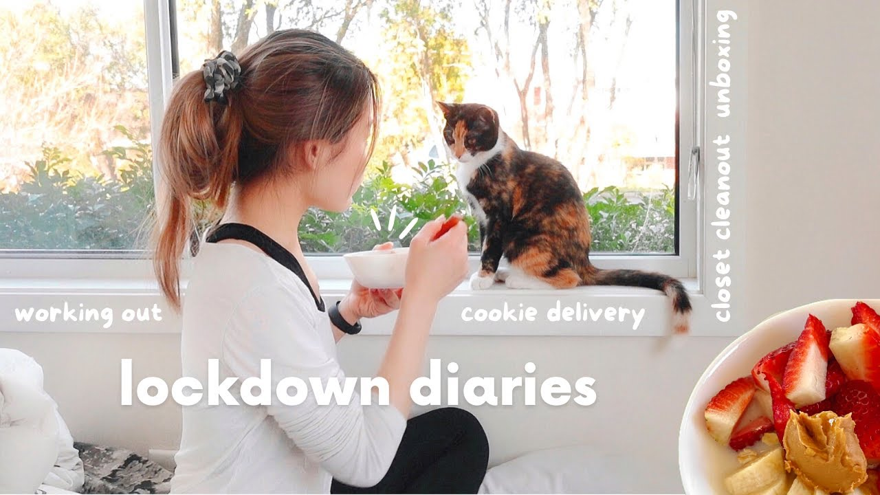 lockdown diaries | closet cleanout, workout, cookie delivery, pesto eggs, unboxing 🍓