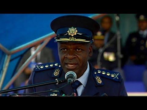 Police Commissioner Gen Khehla Sitole addresses passout parade