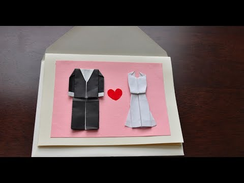 DIY Wedding Card- easy, elegant, just paper- Origami Tux and Modern Dress