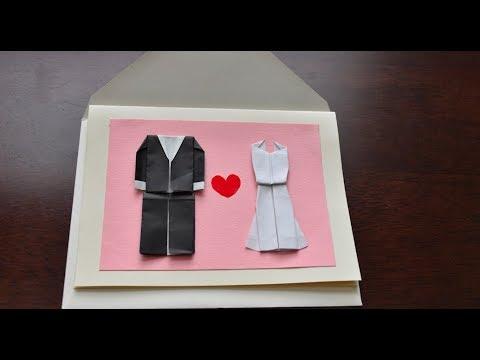 DIY Wedding Card- easy, elegant, just paper- Origami Tux and Modern Dress