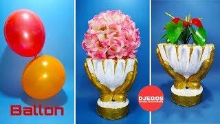 Membuat Vas Bunga Cantik dari Semen menggunakan BALON | Beautifull cement flower vase