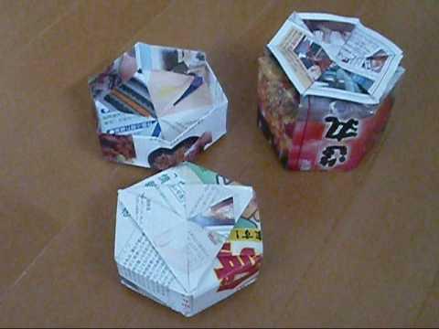 簡単 折り紙:折り紙 箱 六角形-youtube.com