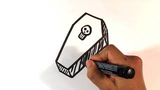 How to Draw a Coffin - Halloween Drawings