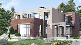 Дом Хай-Тек с панорамными окнами в стиле конструктивизм и лофт, прямой крышей | М-293