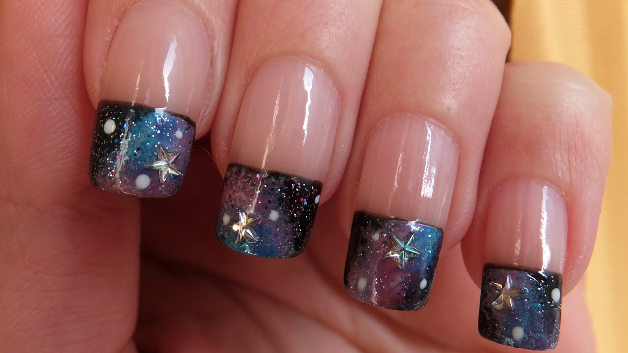 Galaxy French Manicure Nail Art Design Tutorial - YouTube