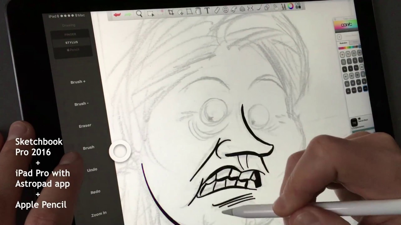 Astropad app apple pencil intuos test in sketchbook pro