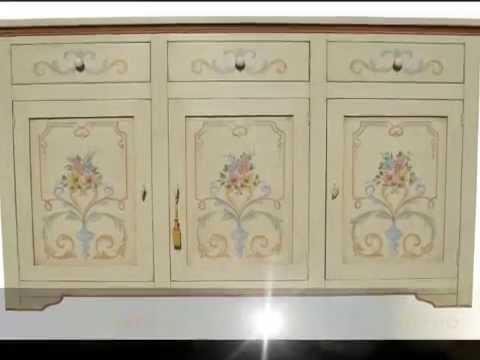 Credenza credenze madia classica dipinta e laccata decorata in stile ...