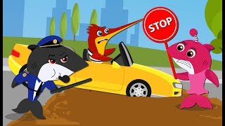 Baby Shark Lost His Car vs Robber Funny Story New Episodes! Baby Shark Song and Nursery Rhymes